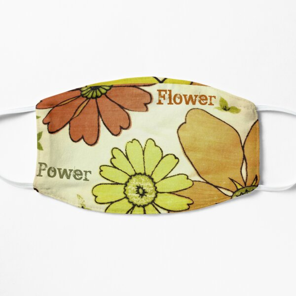 Flower Power Green Brown Flat Mask