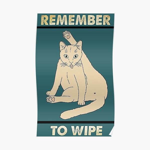 Remember to wipe funny gift for cat lover  Poster