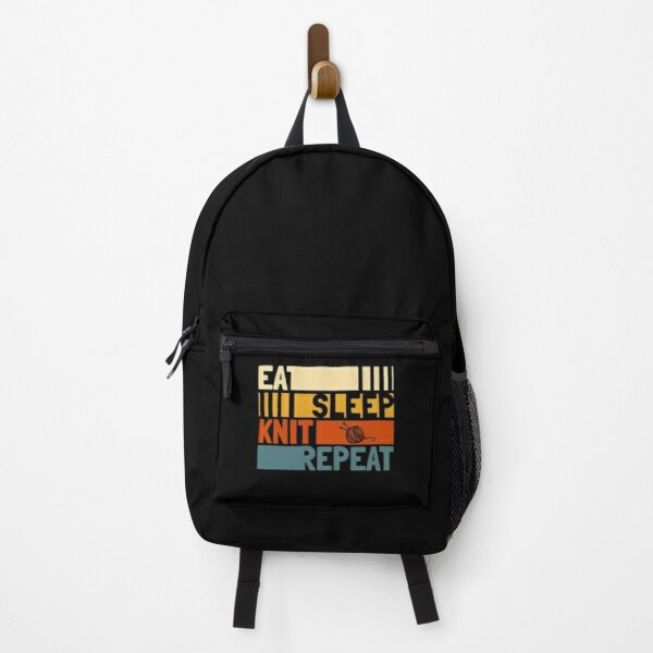 Eat Sleep Knit Repeat Funny Backpack