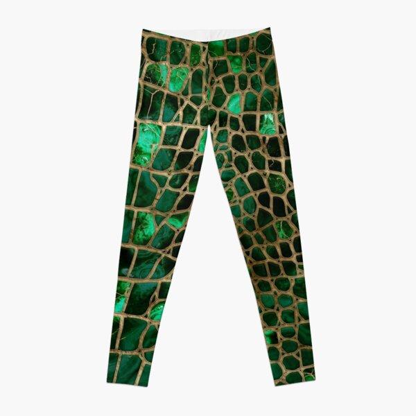 Faux Crocodile texture Malachite and gold Leggings