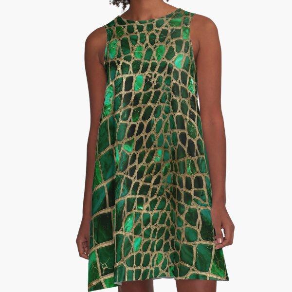 Faux Crocodile texture Malachite and gold A-Line Dress