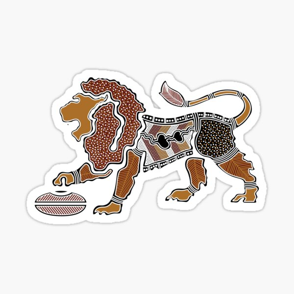 Authentic Aboriginal Art - Lion Sticker