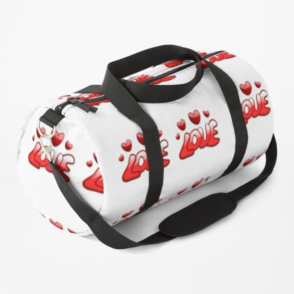 STICKERS, MUGS; LOVE HEARTS RED (stickers x 4 per sheet) Duffle Bag