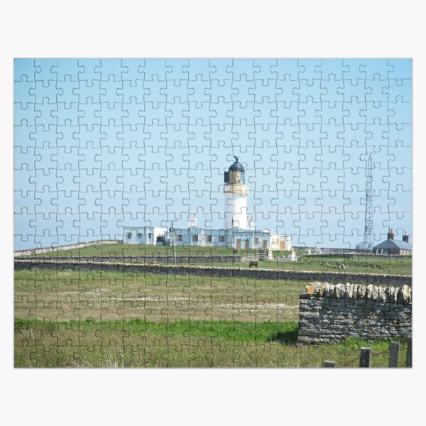Lighthouse behind Bog Cotton Jigsaw Puzzle