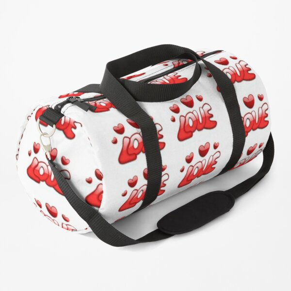 STICKERS, MUGS; LOVE HEARTS RED (stickers x 6 per sheet) Duffle Bag