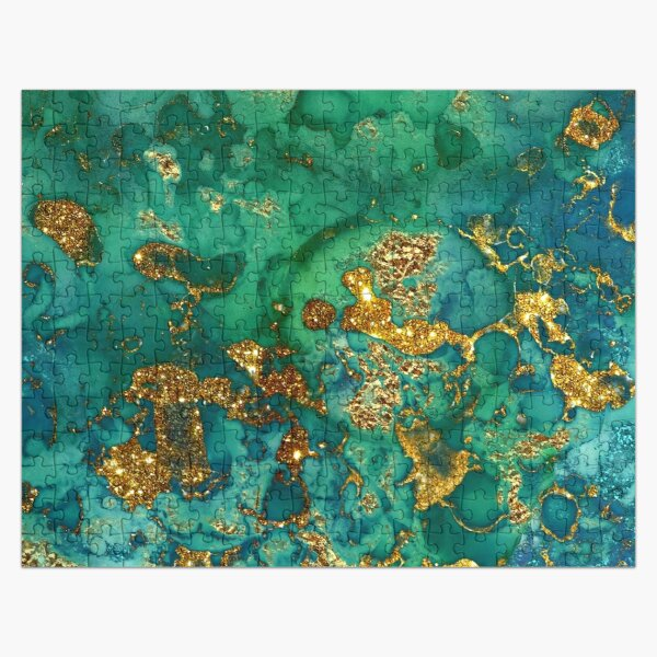 Sparkling Gold Glitter on Green and Blue marble Jigsaw Puzzle