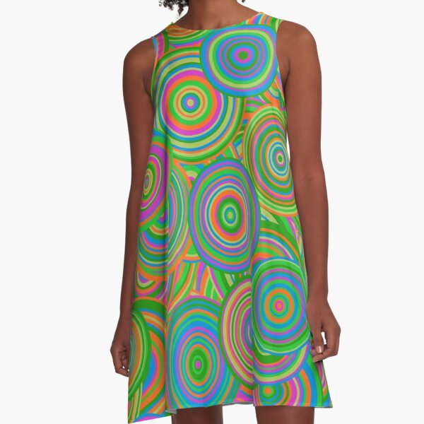 Psychedelic 60's Circles A-Line Dress