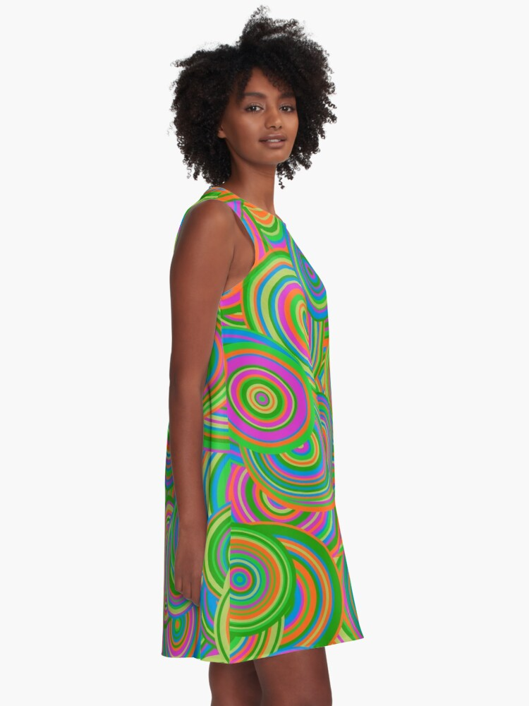 Alternate view of   Psychedelic 60's Circles A-Line Dress