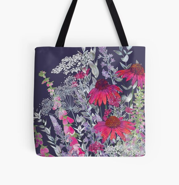 Pink Flower Garden - Echinacea Flowers, Foxgloves & Ammi All Over Print Tote Bag