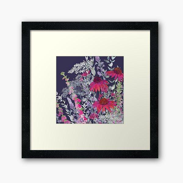 Pink Flower Garden - Echinacea Flowers, Foxgloves & Ammi Framed Art Print