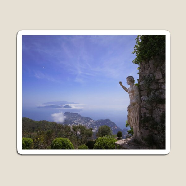 Island of Capri magical view with greek statue blue sky Magnet