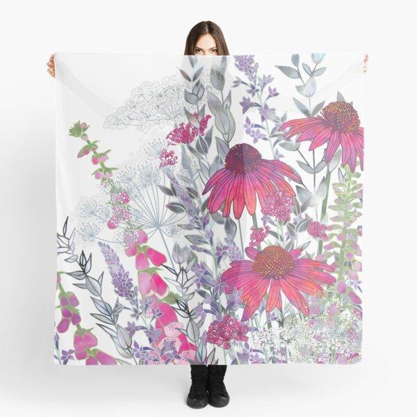 Pink Flower Garden - Echinacea Flowers, Foxgloves & Ammi Scarf
