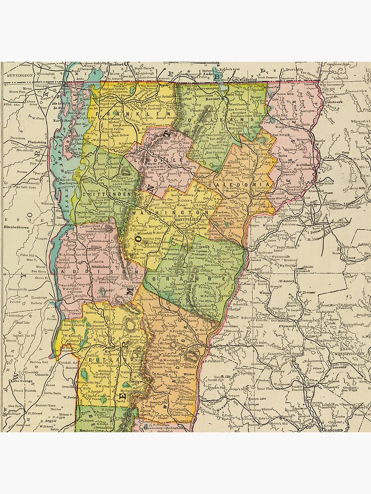 Vintage Map of Vermont (1909) by BravuraMedia