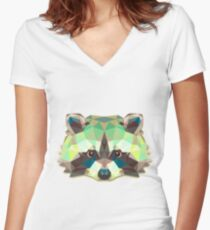 Raccoon Animals Gift Women's Fitted V-Neck T-Shirt