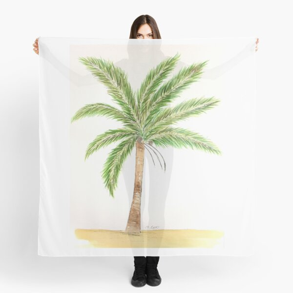 Watercolor palm tree, Florida painting, tropical artwork Scarf