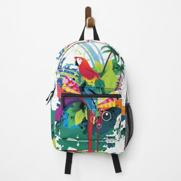 Parrot in the jungle of colors - white Backpack