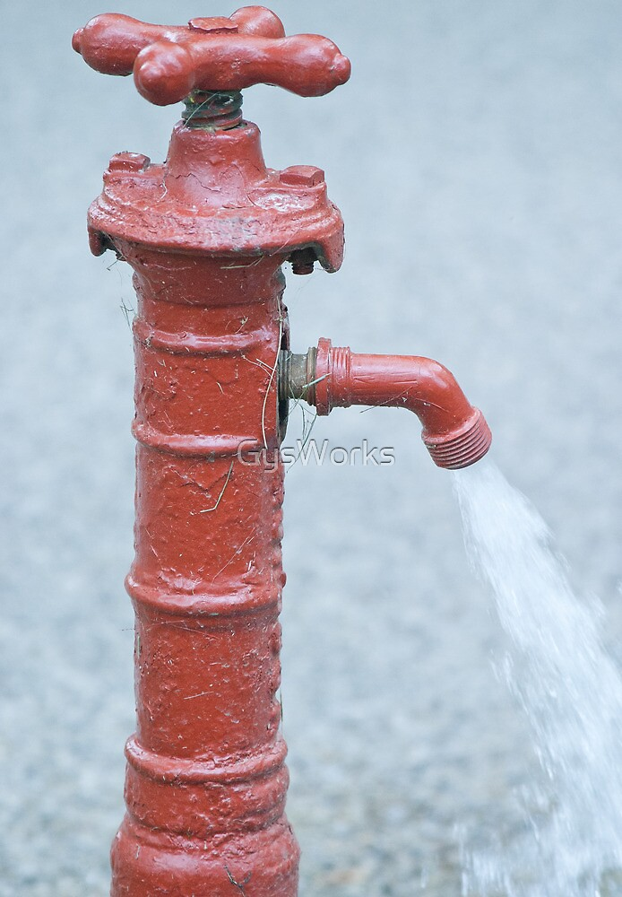 Red Outdoor Water Faucet\