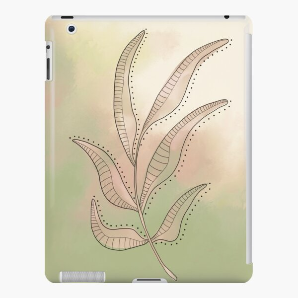 Line Drawing of a Leaf with a painted background (Fennel Green & Sand) iPad Snap Case