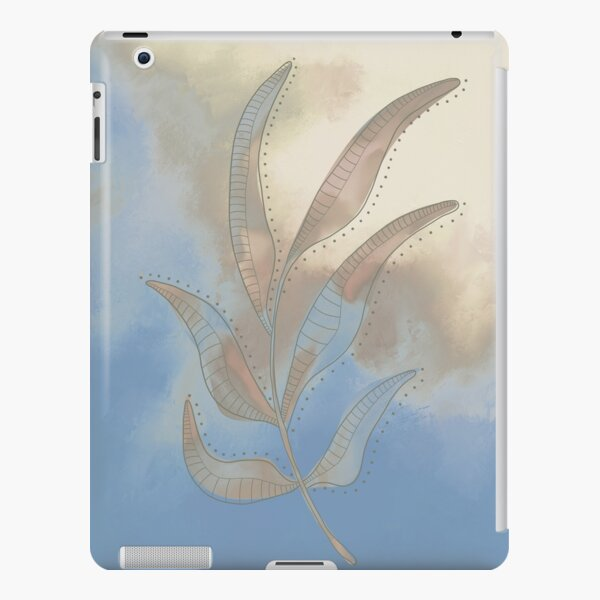 Line Drawing of a Leaf with a painted background (Blue & Sand) iPad Snap Case