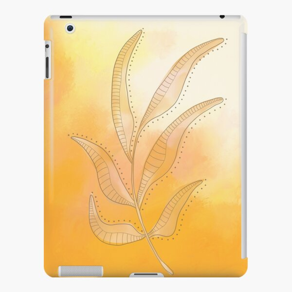 Line Drawing of a Leaf with a painted background (Mustard Yellow & Sand) iPad Snap Case