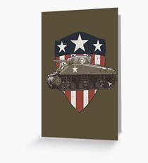 Vintage Look Sherman Tank on Captain America Style Shield Greeting Card