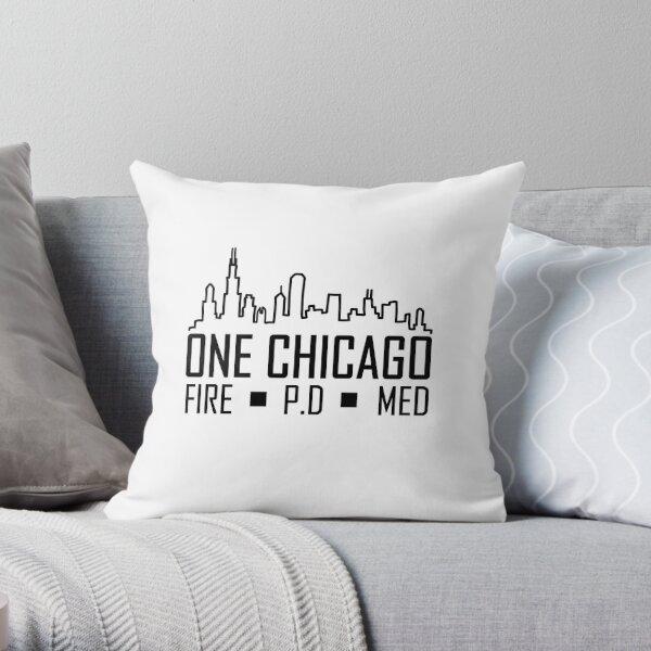 Fire, Med, PD skyline Throw Pillow