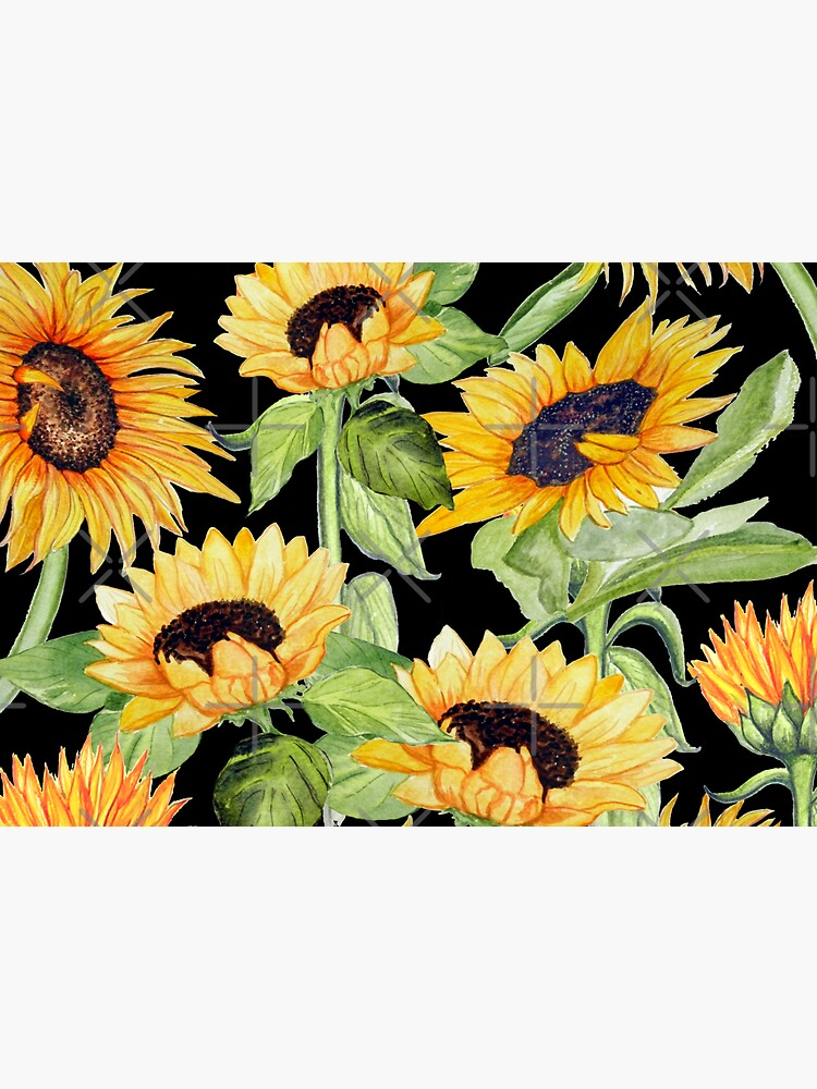 Sunflower watercolor floral on black by MagentaRose