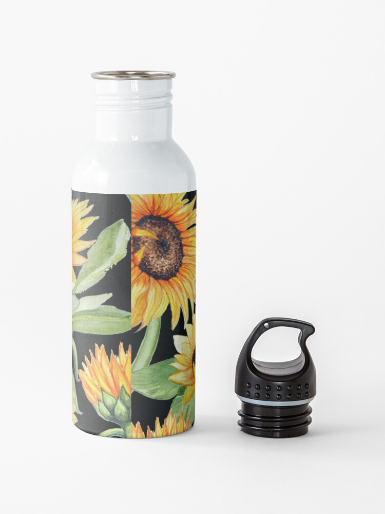 Alternate view of Sunflower watercolor floral on black Water Bottle
