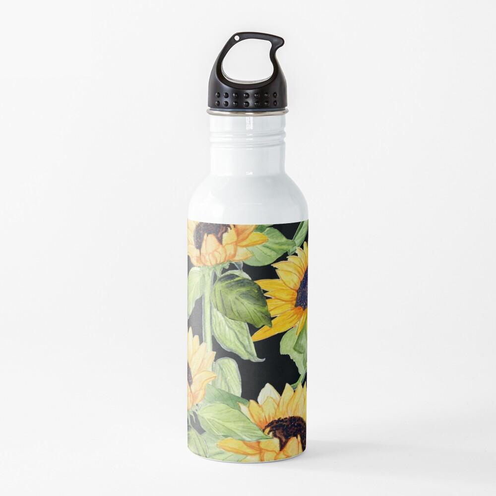 Sunflower watercolor floral on black Water Bottle