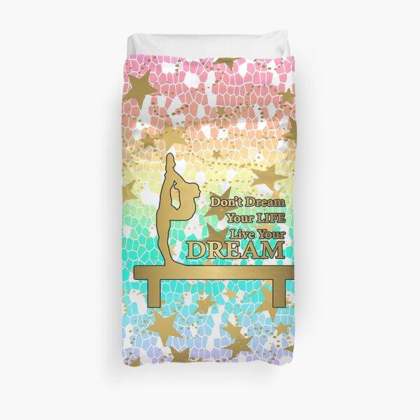 Pastel Rainbow Mosaic et Gold Stars Dream Design - Gymnastique Design Housse de couette