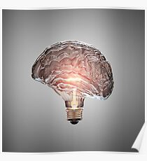 Light Bulb Brain Poster