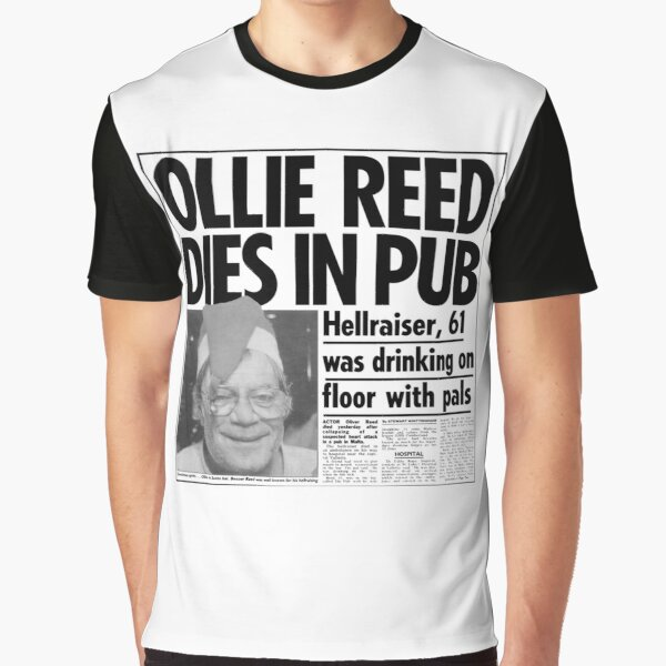 Oliver Reed Obituary Graphic T-Shirt