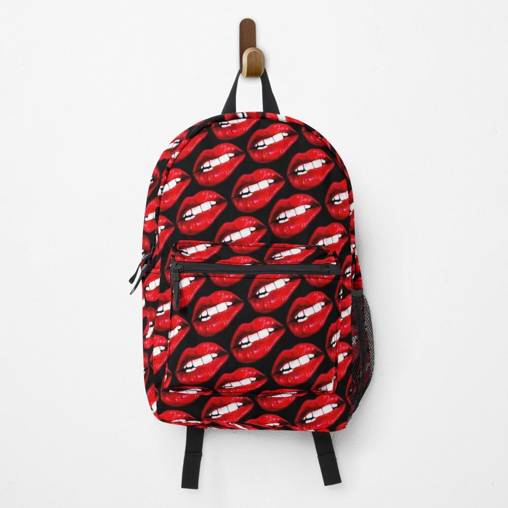 Lip Pattern - Black Backpack