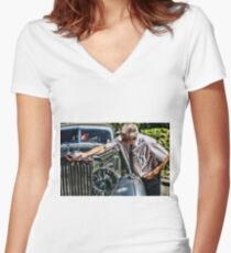 Classic car Women's Fitted V-Neck T-Shirt