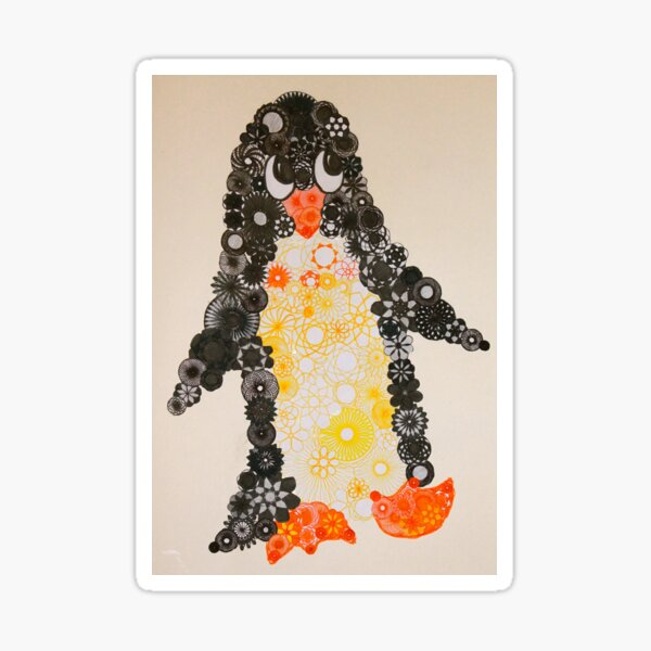 Spirograph Penguin in black, yellow and orange Sticker