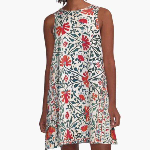 Shakhrisyabz Suzani Uzbekistan Floral Embroidery Print A-Line Dress