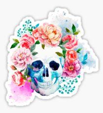 Skull flower art Sticker