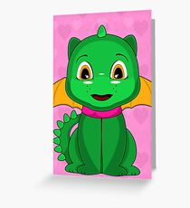 Green And Orange Chibi Dragon Greeting Card