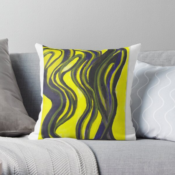 Myths and Legends Abstract (yellow and black) Throw Pillow