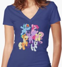 My Little Pony Group Women's Fitted V-Neck T-Shirt