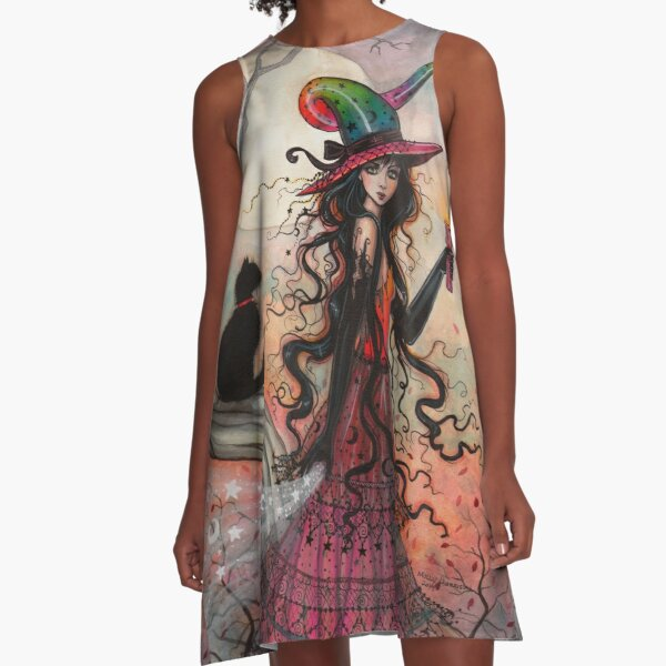 October Flame Witch Cat Fantasy Art by Molly Harrison A-Line Dress