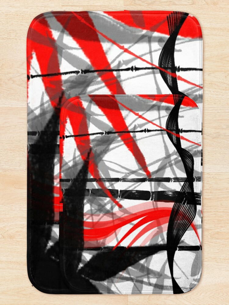 Alternate view of red black grey silver white bamboo abastract digital painting Bath Mat