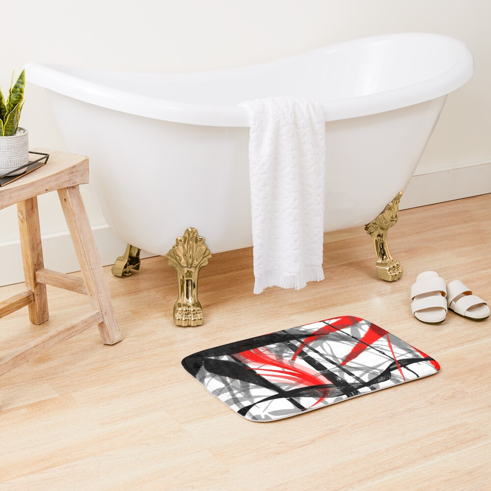 red black grey silver white bamboo abastract digital painting Bath Mat