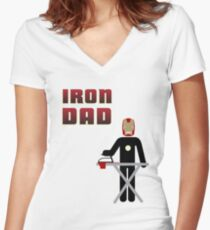 Iron Dad ironing Women's Fitted V-Neck T-Shirt