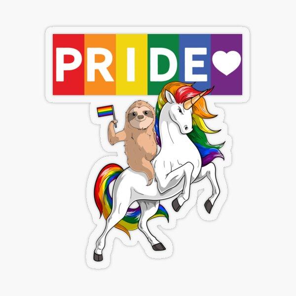 LGBT Gay Pride Sloth Riding Rainbow Unicorn Transparent Sticker