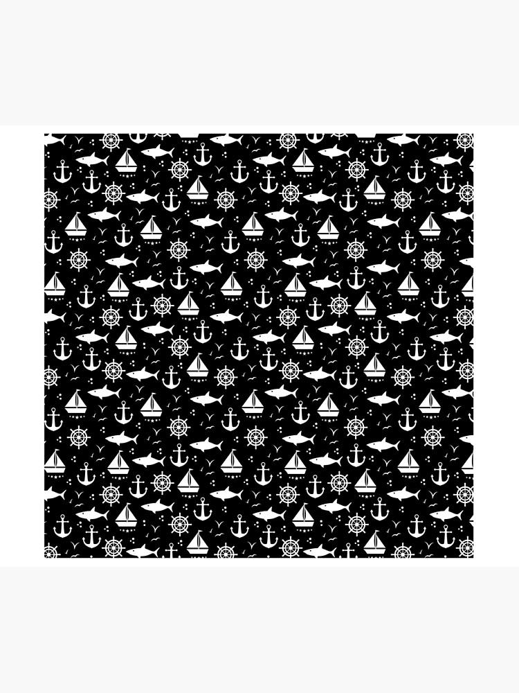 Schwarzweisses Motiv mit Anker, Segelboot, Maritim, nautische Symbole, Maritimes von cartoon-IT