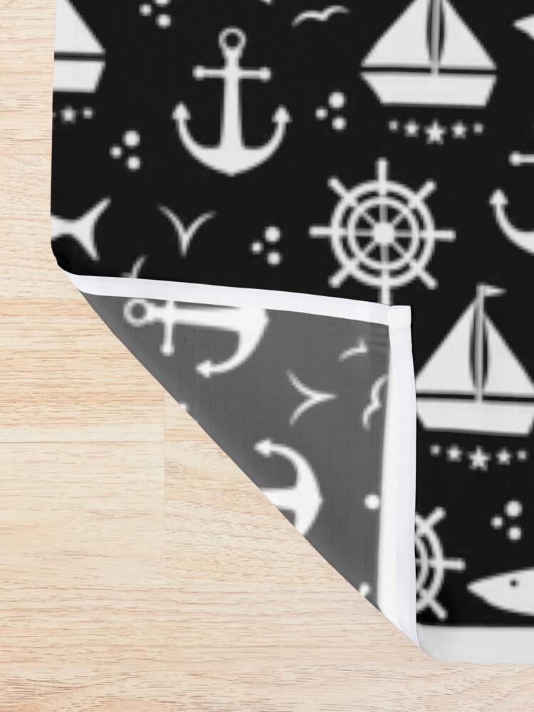 Alternative Ansicht von Schwarzweisses Motiv mit Anker, Segelboot, Maritim, nautische Symbole, Maritimes Duschvorhang