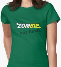 Zombie- Eat Flesh. Womens Fitted T-Shirt
