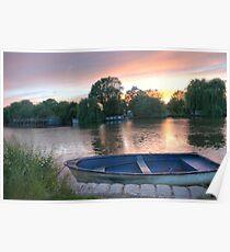Sunset over Surrey Thames Poster