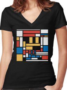 Super Mondrian Women's Fitted V-Neck T-Shirt
